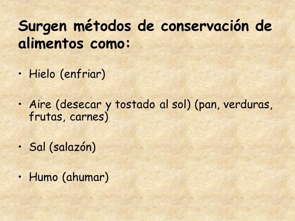 Surgen métodos de conservación de alimentos como: