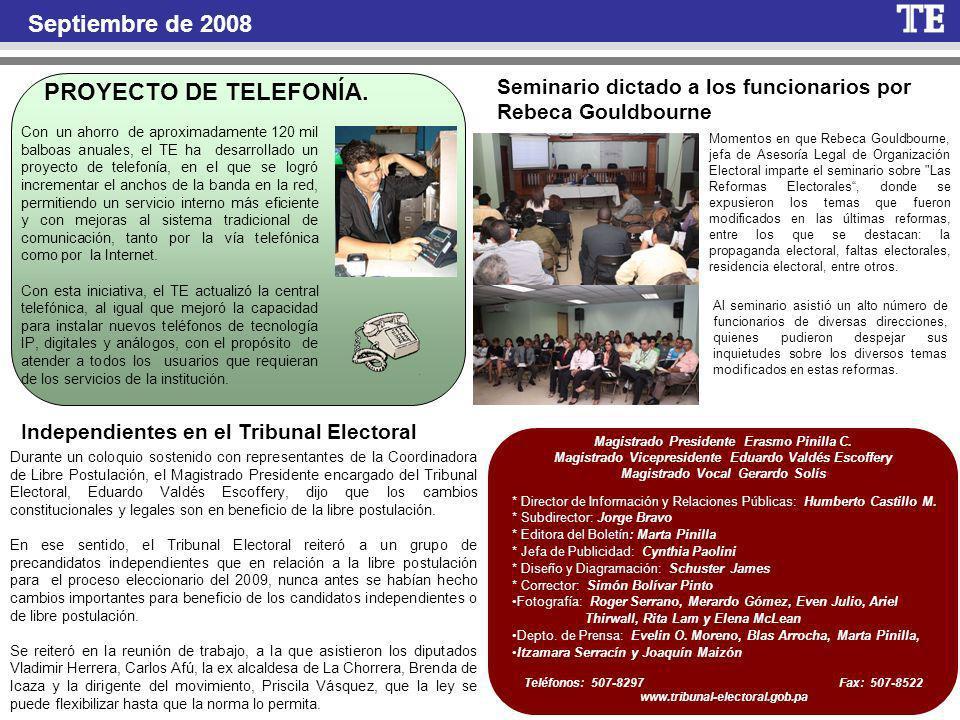 Septiembre de 2008 PROYECTO DE TELEFONÍA.