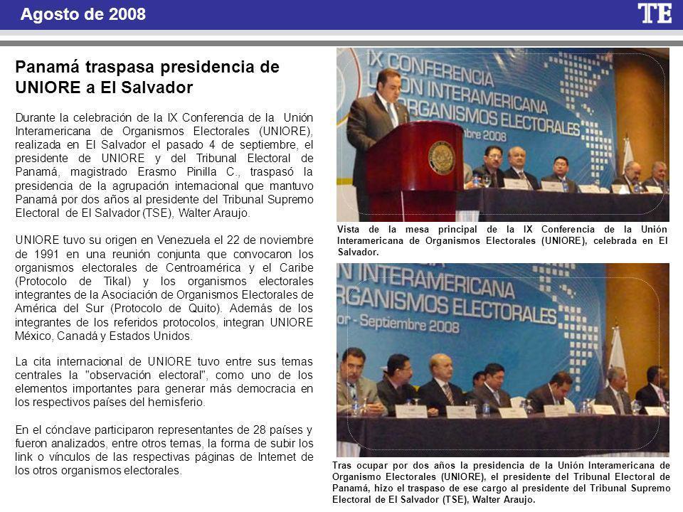 Panamá traspasa presidencia de UNIORE a El Salvador