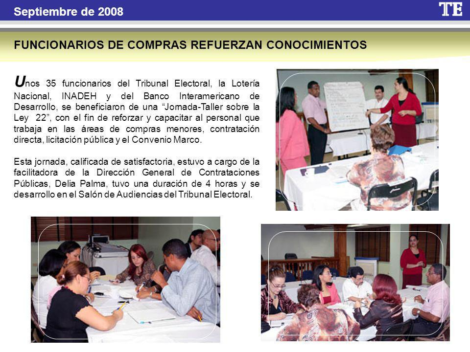 Septiembre de 2008 FUNCIONARIOS DE COMPRAS REFUERZAN CONOCIMIENTOS.