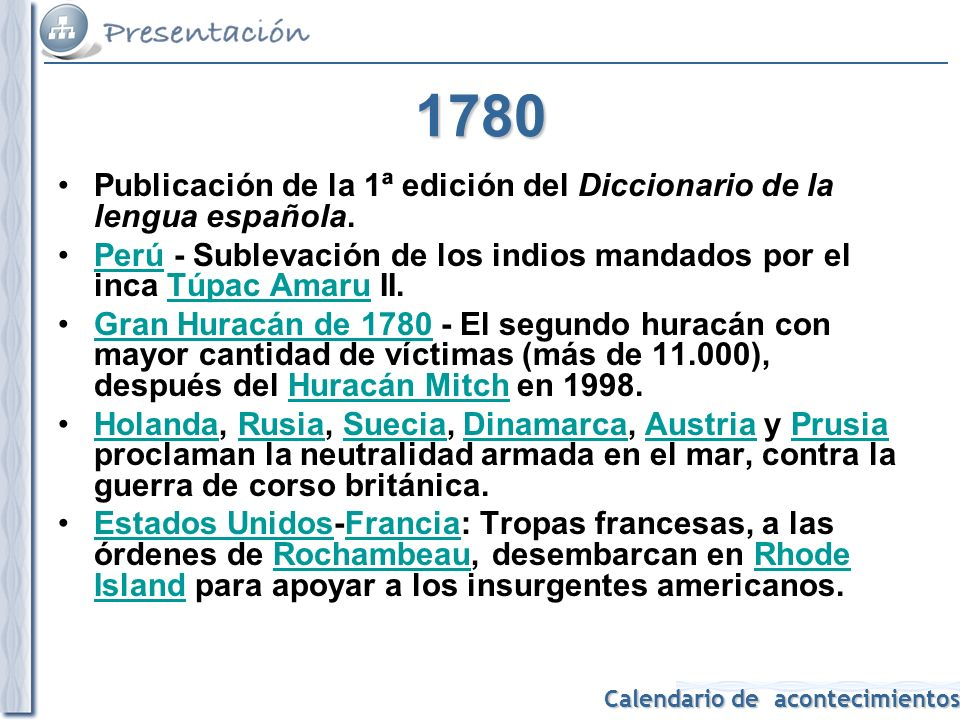 1780 Publicación de la 1ª edición del Diccionario de la lengua española. Perú - Sublevación de los indios mandados por el inca Túpac Amaru II.