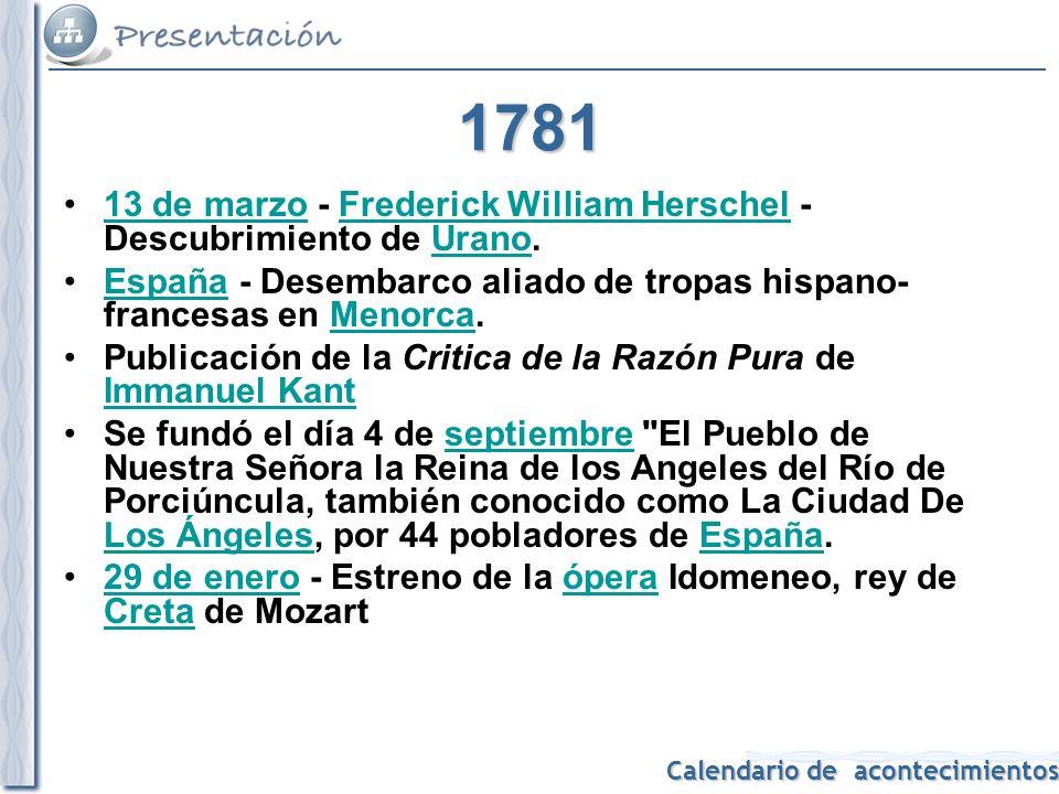 1781 13 de marzo - Frederick William Herschel - Descubrimiento de Urano. España - Desembarco aliado de tropas hispano-francesas en Menorca.