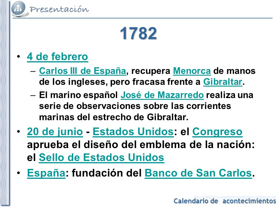 1782 4 de febrero. Carlos III de España, recupera Menorca de manos de los ingleses, pero fracasa frente a Gibraltar.