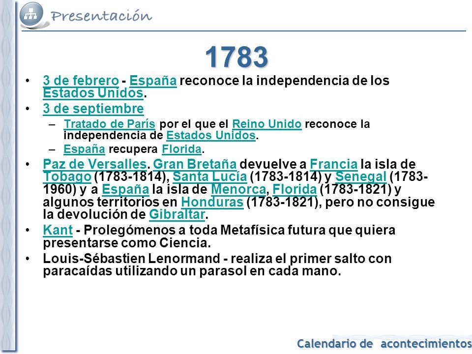 1783 3 de febrero - España reconoce la independencia de los Estados Unidos. 3 de septiembre.