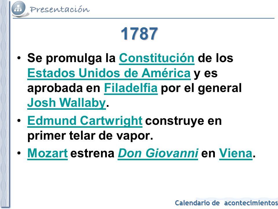 1787 Se promulga la Constitución de los Estados Unidos de América y es aprobada en Filadelfia por el general Josh Wallaby.
