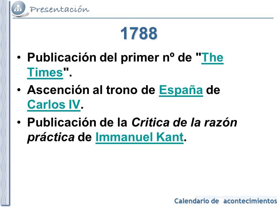 1788 Publicación del primer nº de The Times .