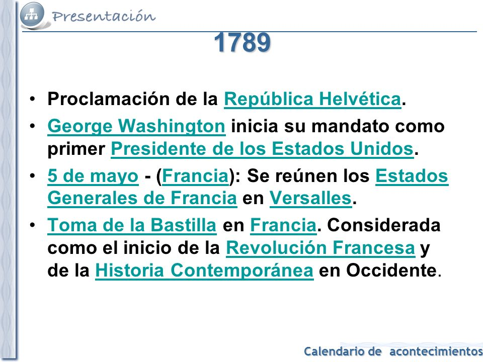 1789 Proclamación de la República Helvética.