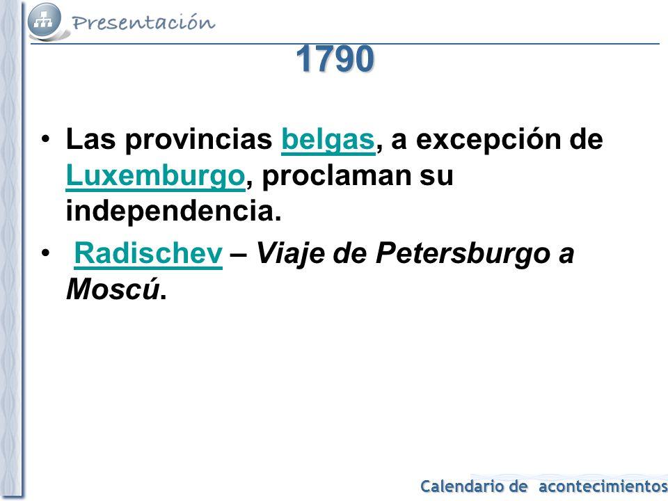 1790 Las provincias belgas, a excepción de Luxemburgo, proclaman su independencia.