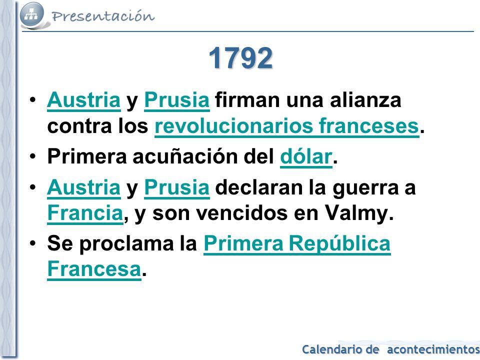1792 Austria y Prusia firman una alianza contra los revolucionarios franceses. Primera acuñación del dólar.