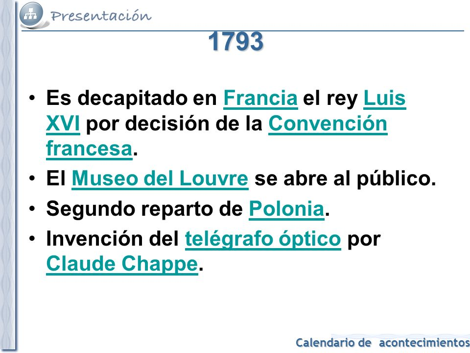 1793 Es decapitado en Francia el rey Luis XVI por decisión de la Convención francesa. El Museo del Louvre se abre al público.