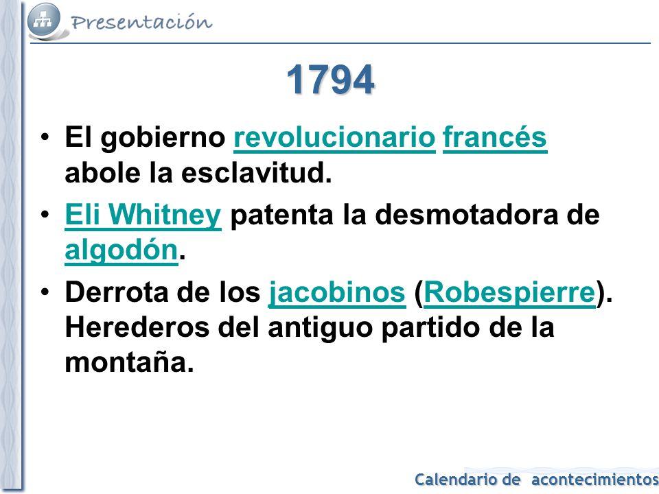 1794 El gobierno revolucionario francés abole la esclavitud.