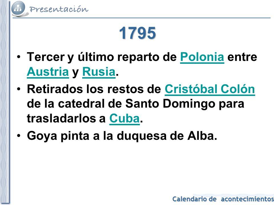 1795 Tercer y último reparto de Polonia entre Austria y Rusia.