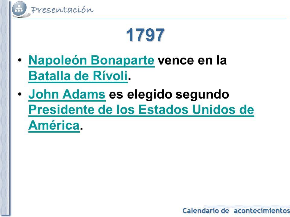 1797 Napoleón Bonaparte vence en la Batalla de Rívoli.