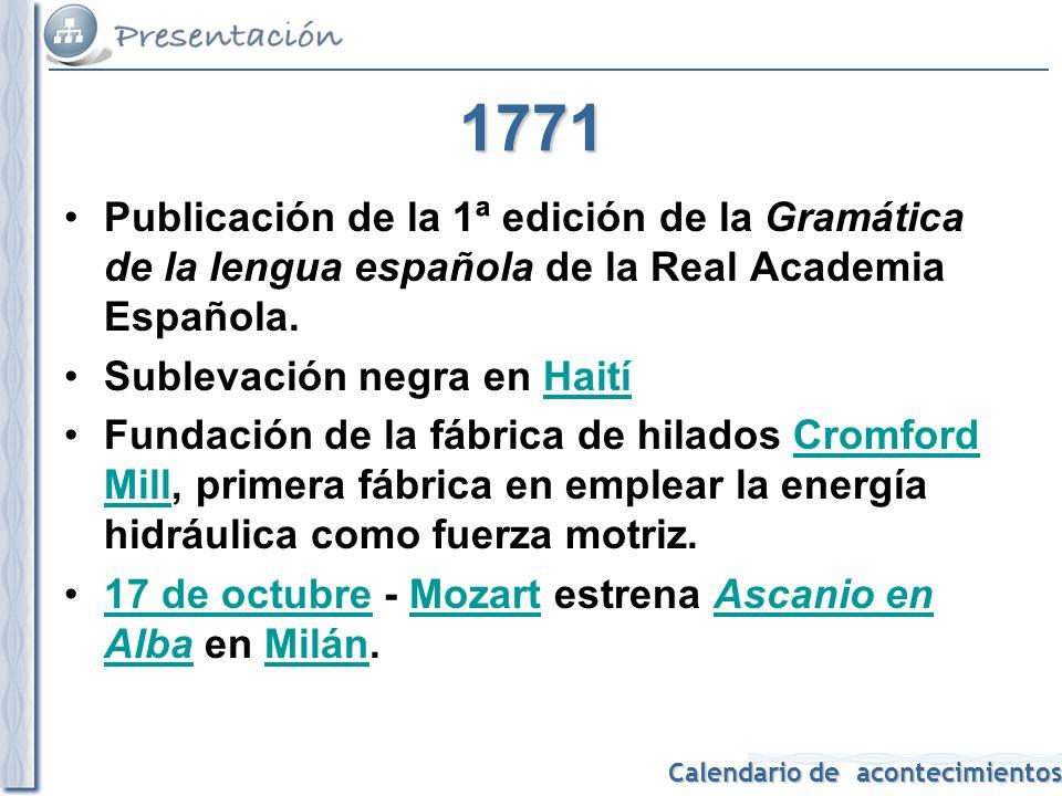 1771 Publicación de la 1ª edición de la Gramática de la lengua española de la Real Academia Española.