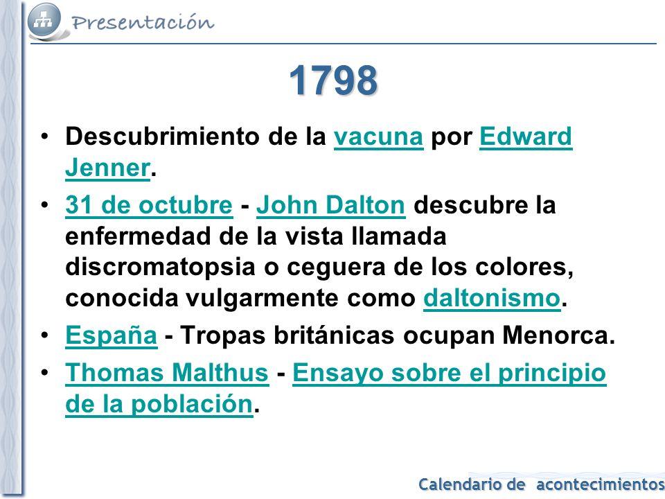 1798 Descubrimiento de la vacuna por Edward Jenner.