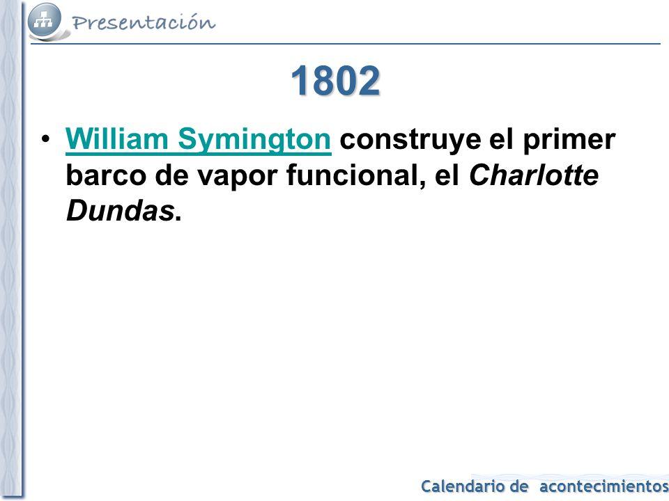 1802 William Symington construye el primer barco de vapor funcional, el Charlotte Dundas.