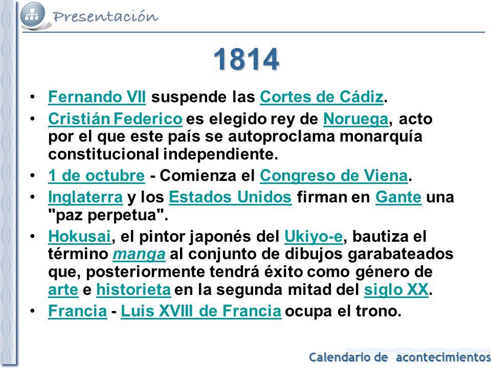 1814 Fernando VII suspende las Cortes de Cádiz.