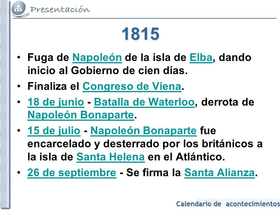 1815 Fuga de Napoleón de la isla de Elba, dando inicio al Gobierno de cien días. Finaliza el Congreso de Viena.