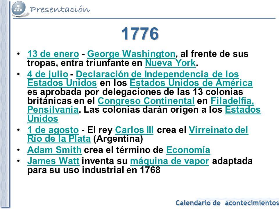 1776 13 de enero - George Washington, al frente de sus tropas, entra triunfante en Nueva York.