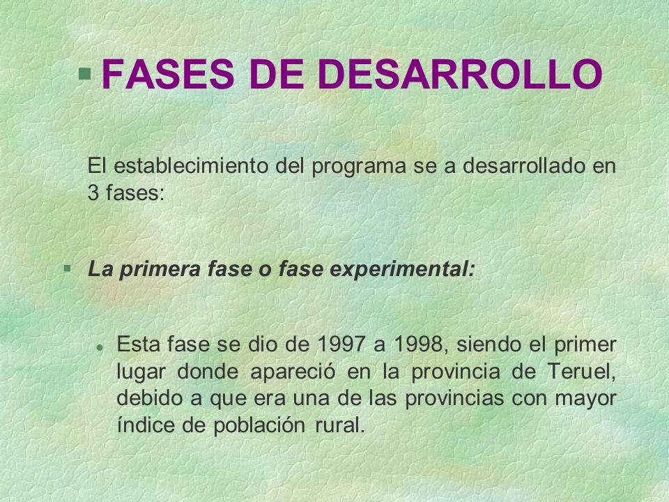 FASES DE DESARROLLO El establecimiento del programa se a desarrollado en 3 fases: La primera fase o fase experimental: