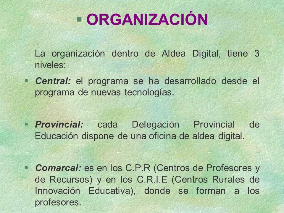 ORGANIZACIÓN La organización dentro de Aldea Digital, tiene 3 niveles: