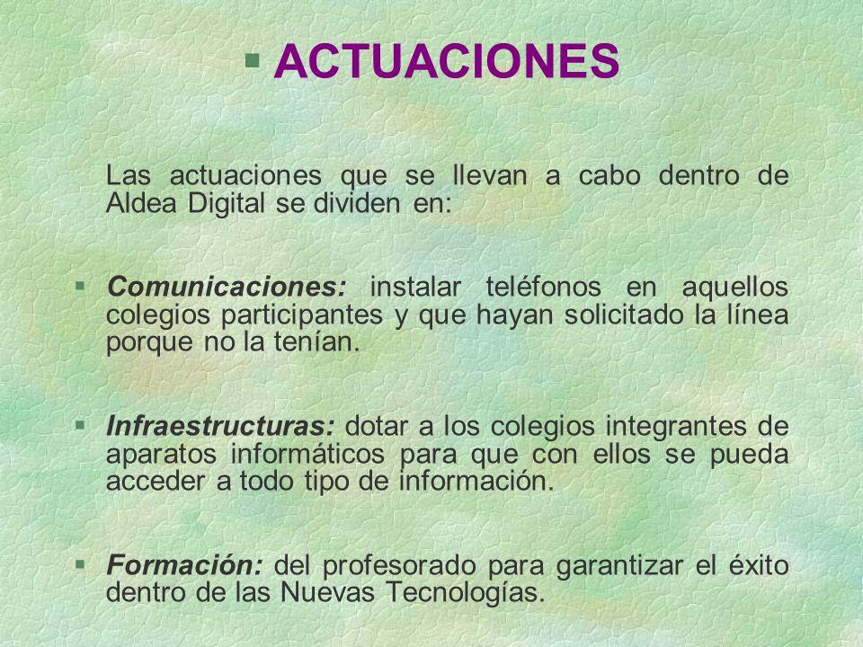 ACTUACIONES Las actuaciones que se llevan a cabo dentro de Aldea Digital se dividen en: