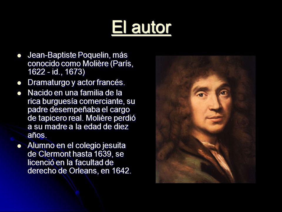 El autor Jean-Baptiste Poquelin, más conocido como Molière (París, 1622 - id., 1673) Dramaturgo y actor francés.