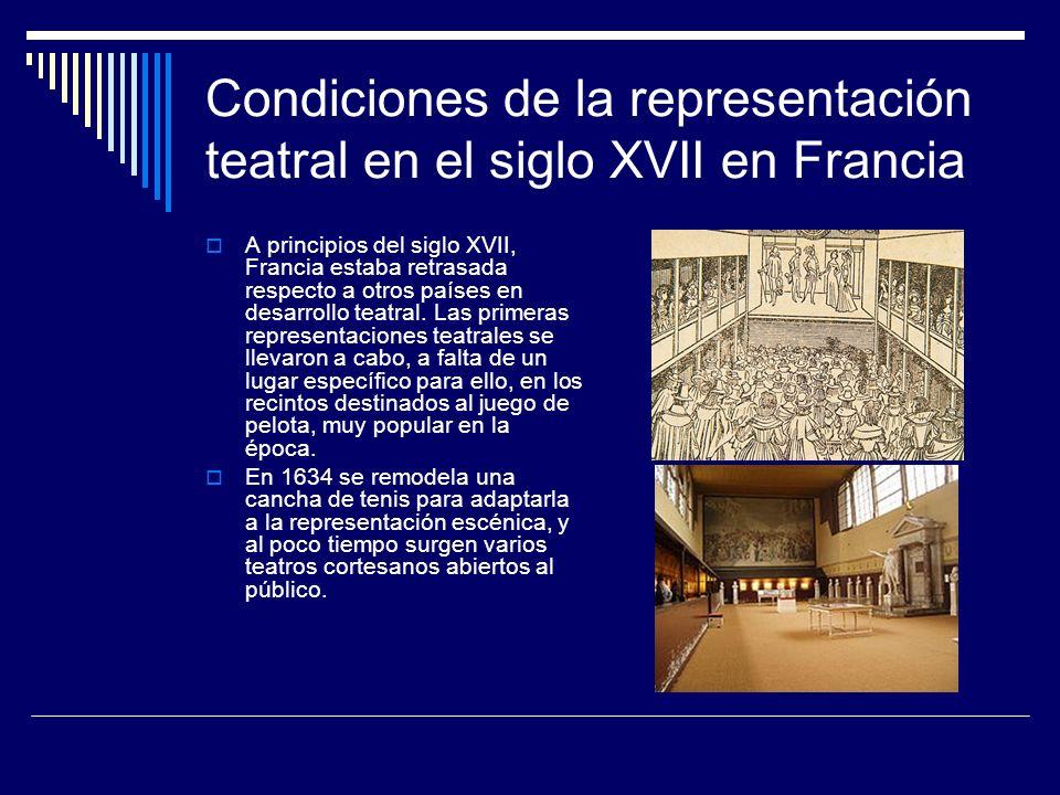 Condiciones de la representación teatral en el siglo XVII en Francia