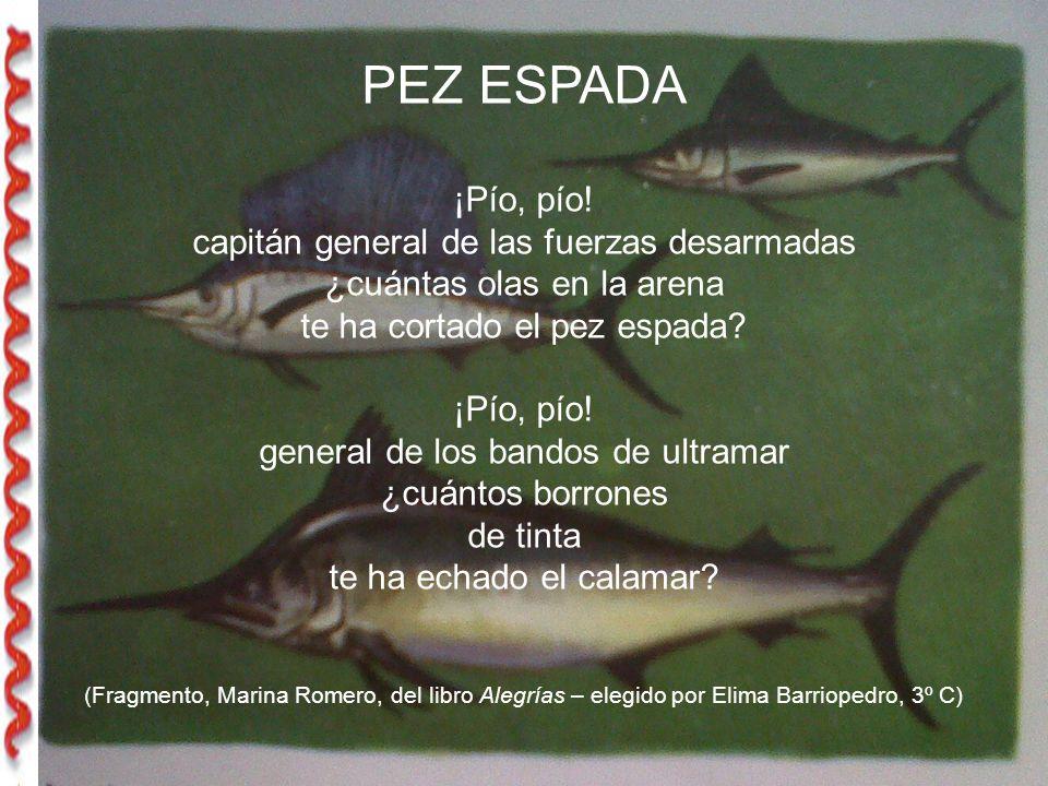 PEZ ESPADA ¡Pío, pío! capitán general de las fuerzas desarmadas