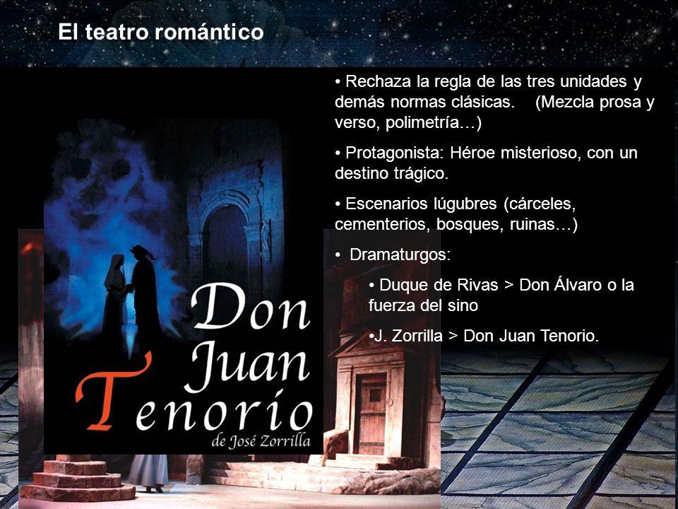 El teatro romántico Rechaza la regla de las tres unidades y demás normas clásicas. (Mezcla prosa y verso, polimetría…)