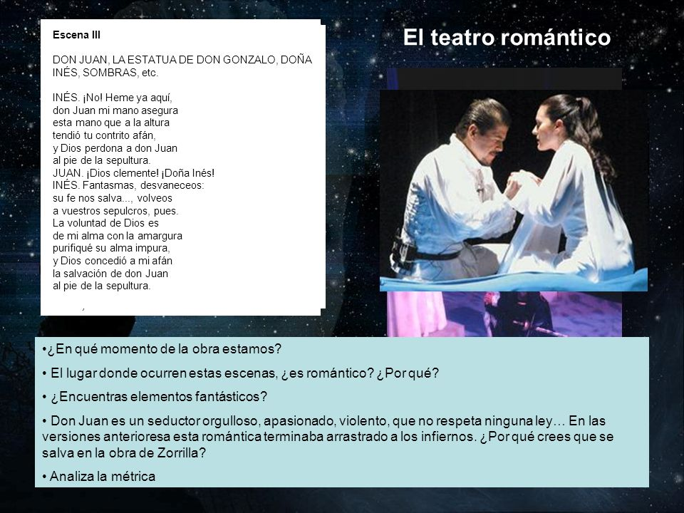 El teatro romántico ¿En qué momento de la obra estamos