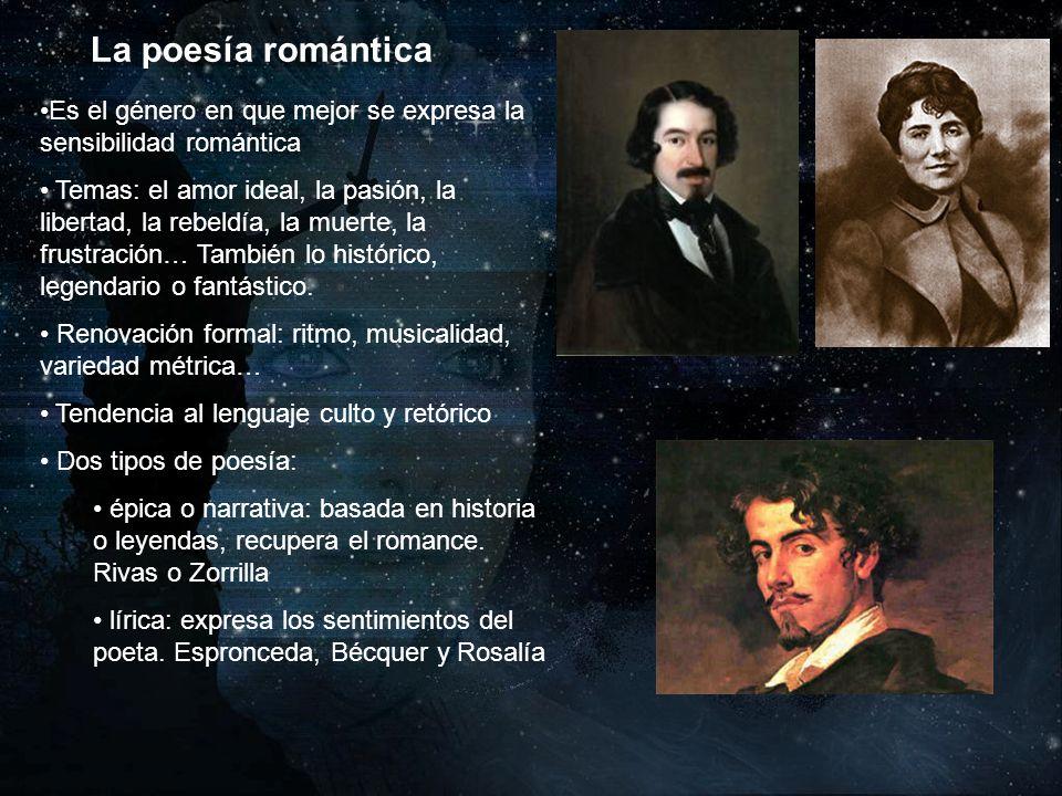 La poesía romántica Es el género en que mejor se expresa la sensibilidad romántica.