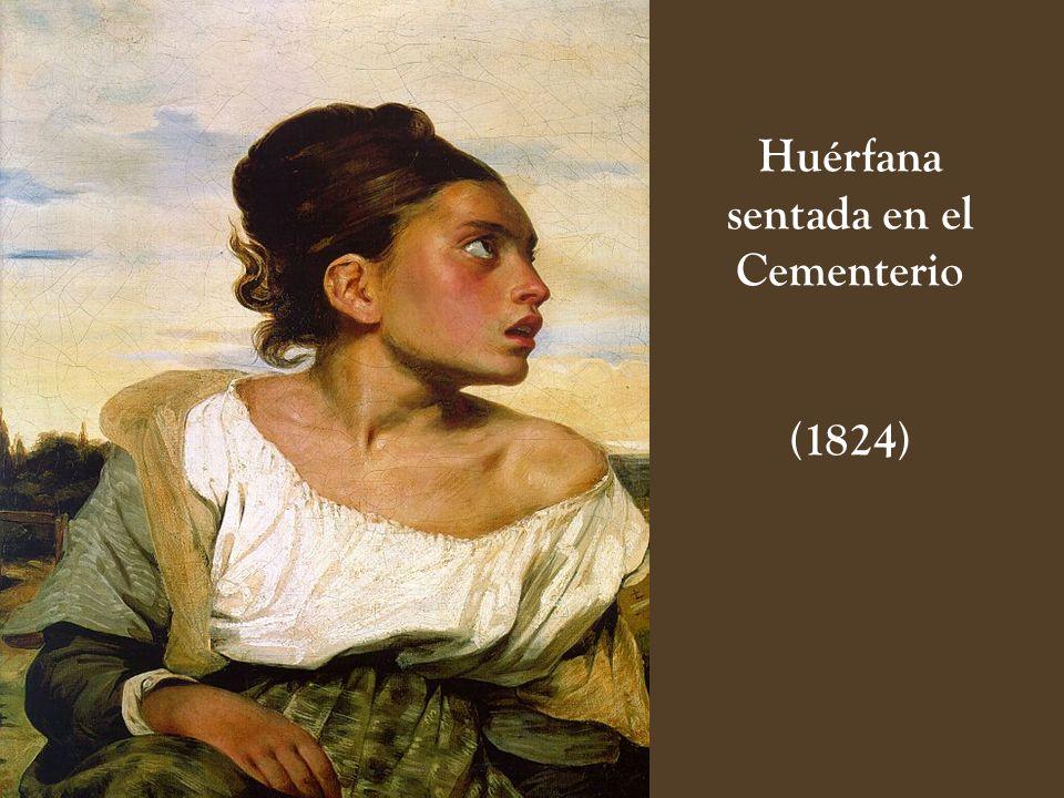 Huérfana sentada en el Cementerio