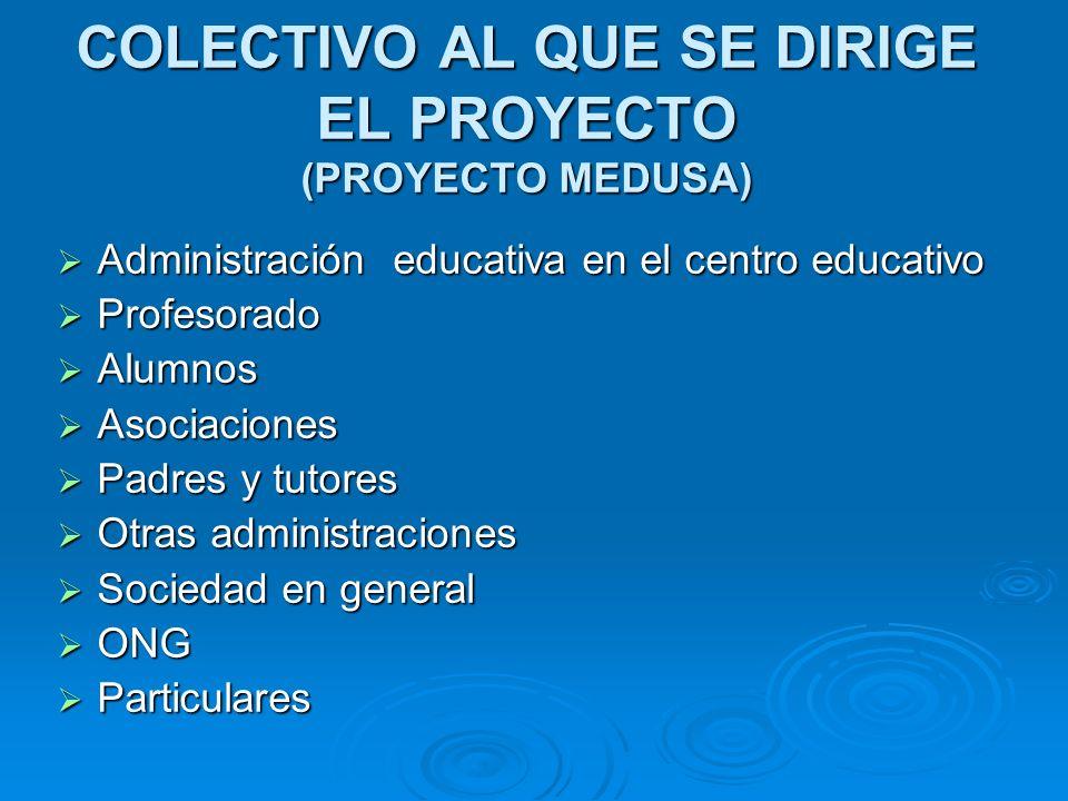COLECTIVO AL QUE SE DIRIGE EL PROYECTO (PROYECTO MEDUSA)