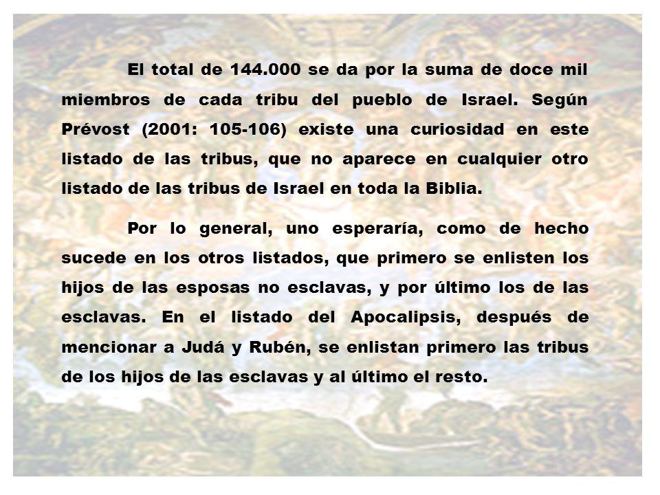 El total de 144.000 se da por la suma de doce mil miembros de cada tribu del pueblo de Israel. Según Prévost (2001: 105-106) existe una curiosidad en este listado de las tribus, que no aparece en cualquier otro listado de las tribus de Israel en toda la Biblia.