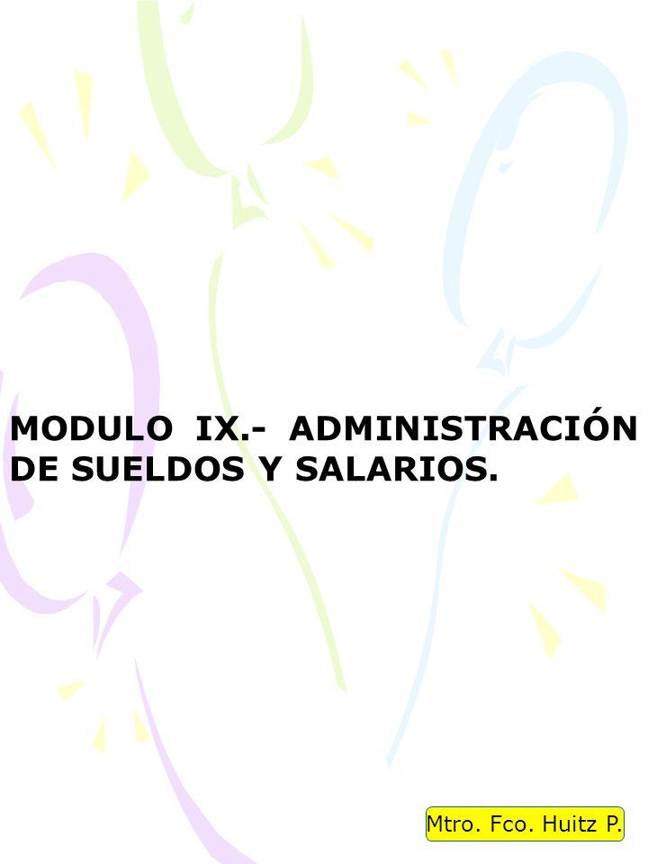 MODULO IX.- ADMINISTRACIÓN DE SUELDOS Y SALARIOS.