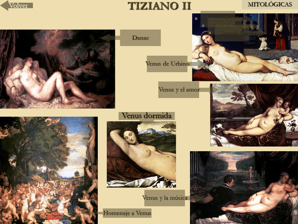 TIZIANO II Venus dormida Volver MITOLÓGICAS Danae Venus de Urbino