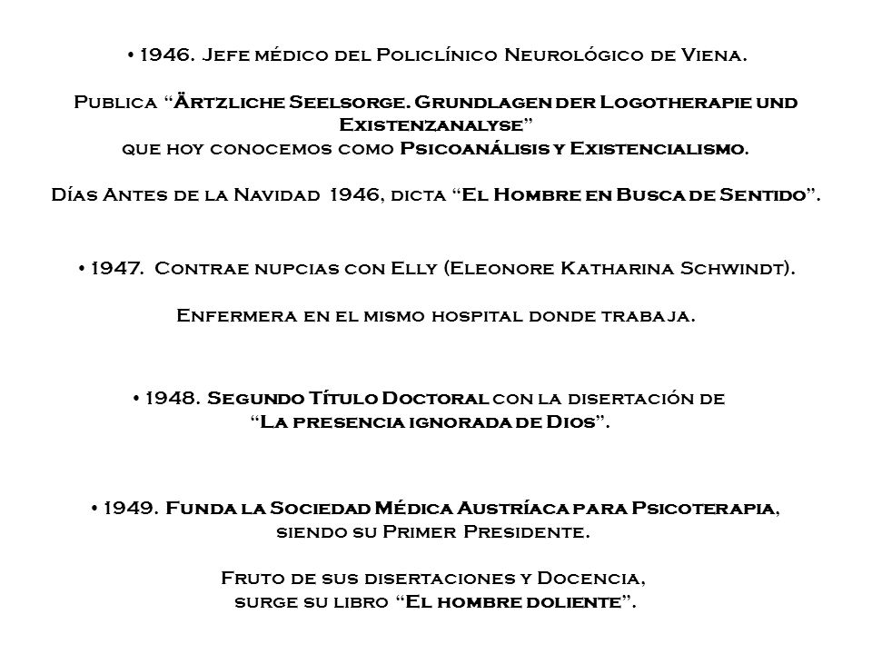 1946. Jefe médico del Policlínico Neurológico de Viena.