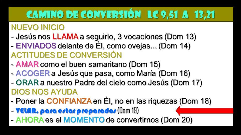 CAMINO de CONVERSIÓN Lc 9,51 a 13,21