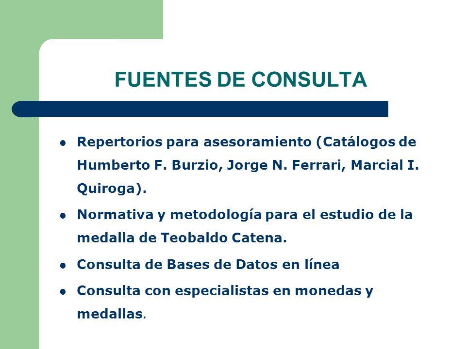FUENTES DE CONSULTA Repertorios para asesoramiento (Catálogos de Humberto F. Burzio, Jorge N. Ferrari, Marcial I. Quiroga).