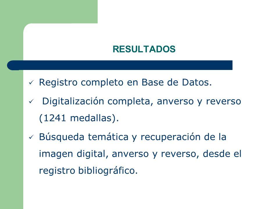 RESULTADOS Registro completo en Base de Datos. Digitalización completa, anverso y reverso (1241 medallas).