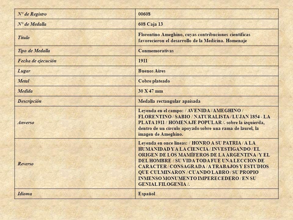 N° de Registro 00608. N° de Medalla. 608 Caja 13. Título. Florentino Ameghino, cuyas contribuciones científicas.