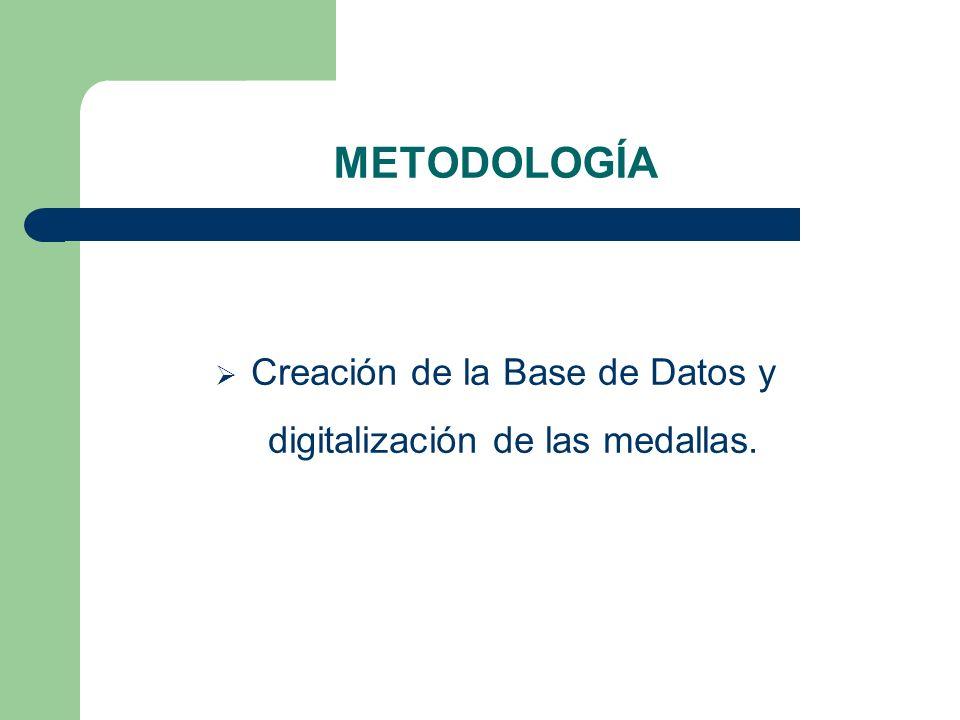 Creación de la Base de Datos y digitalización de las medallas.