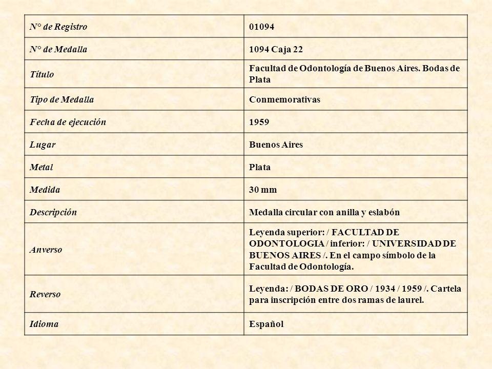 N° de Registro 01094. N° de Medalla. 1094 Caja 22. Título. Facultad de Odontología de Buenos Aires. Bodas de.
