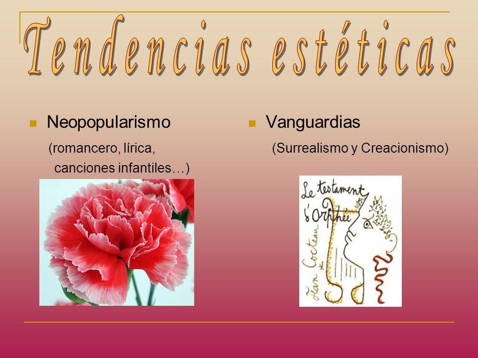 Tendencias estéticas Neopopularismo (romancero, lírica, Vanguardias