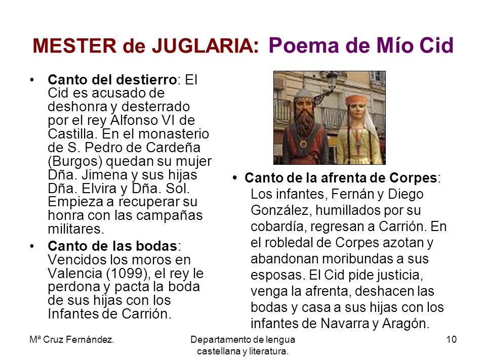 MESTER de JUGLARIA: Poema de Mío Cid