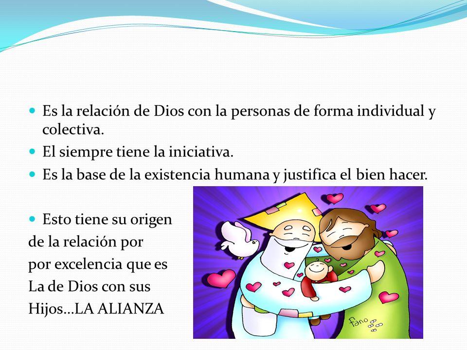 Es la relación de Dios con la personas de forma individual y colectiva.