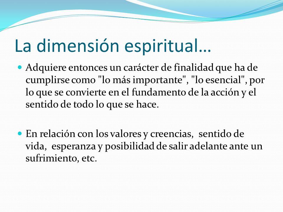 La dimensión espiritual…