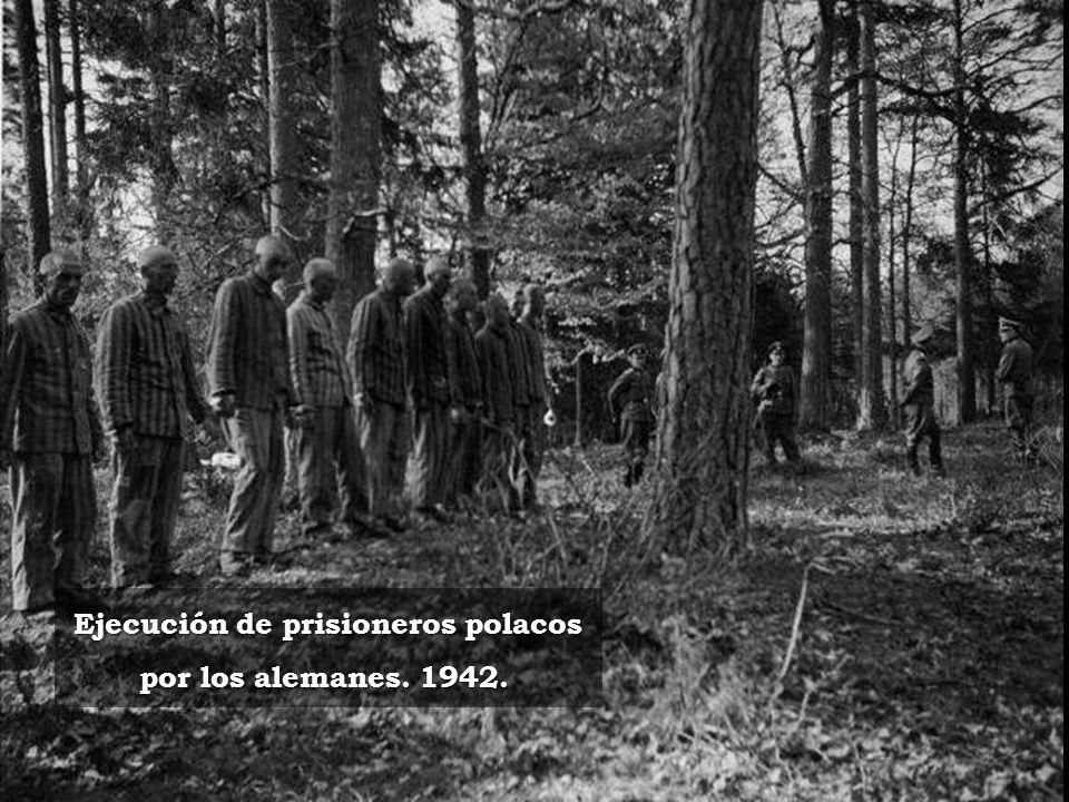 Ejecución de prisioneros polacos por los alemanes. 1942.