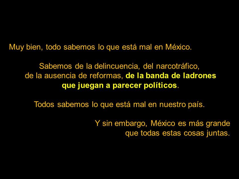 Muy bien, todo sabemos lo que está mal en México.